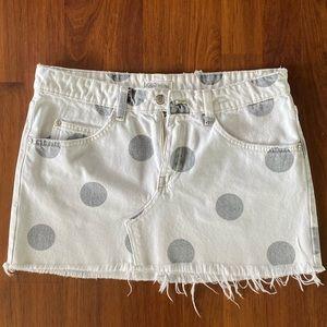 Zara white denim mini skirt